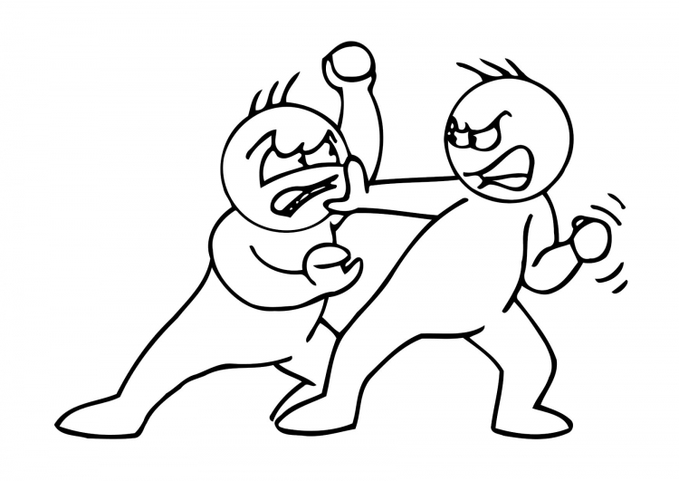 Niños peleando para colorear infantil - Imagui